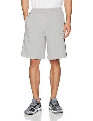 NWT Adidas Mens Essential Cotton Fleece Med Grey Black 3 Stripe Shorts (BR3263) -