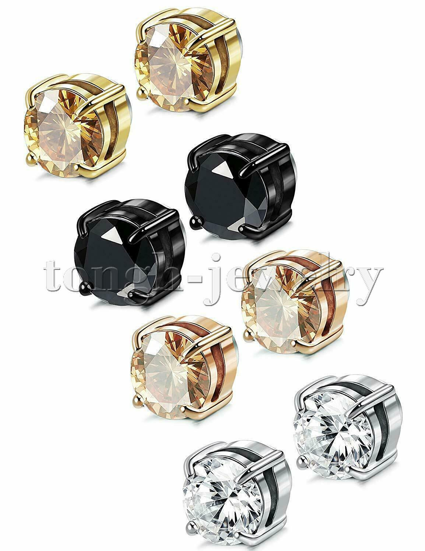 Men Women Stainless Steel Round CZ Magnetic Stud Earrings No