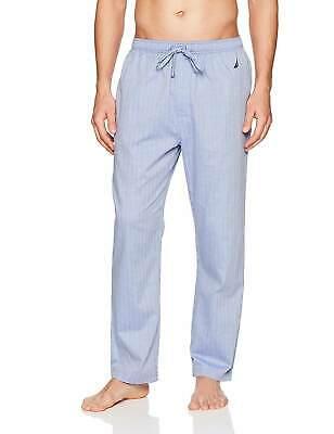 $65 Nautica Men's Pajamas Soft Woven Herringbone Pants Blue Sleepwear Size M