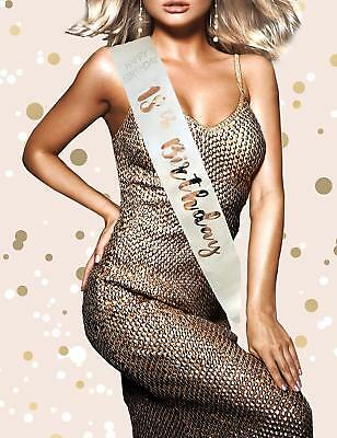 Cream & Rose Gold Metallic Sash RGS- 18 Diamante Happy Birthday 18th Holographic