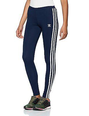 Adidas Originals Women's 3 Stripes Leggings-Navy Blue