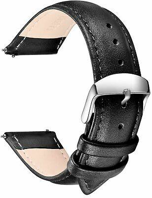 Grain Leather Watch Strap w/ Stainless Metal Buckle Clasp Samsung Gear S2