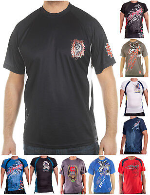 Ed Hardy Mens Sport Athletic Whicking Performance Mesh Active Crew T-Shirt Top Ed Hardy Mens Clothing