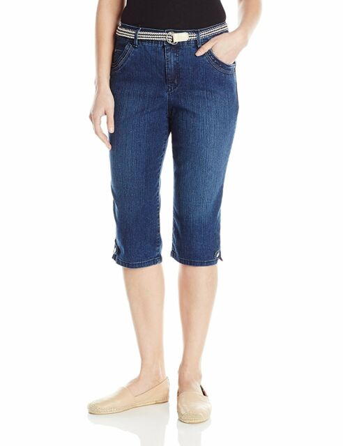 Gloria Vanderbilt Lexi Belted Blue Denim Stretch Capris Skimmer ...
