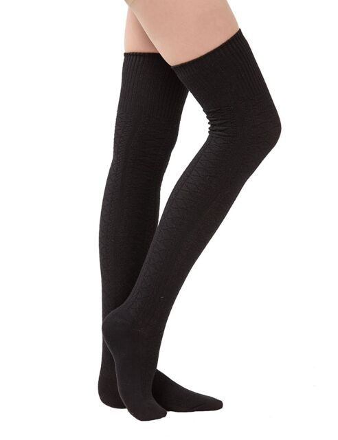 Womens Over Knee Knit Crochet Boot Socks Leggings Girls Winter ...