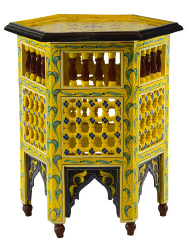 Moroccan Table Wood End Table Coffee Middle East Arabesque Decor Handmade Yellow