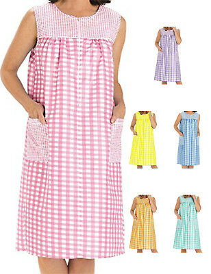 NEW EZI Women's Sleeveless Zipper Gingham Duster House Dress Coat (Tartan Plaid Dress)