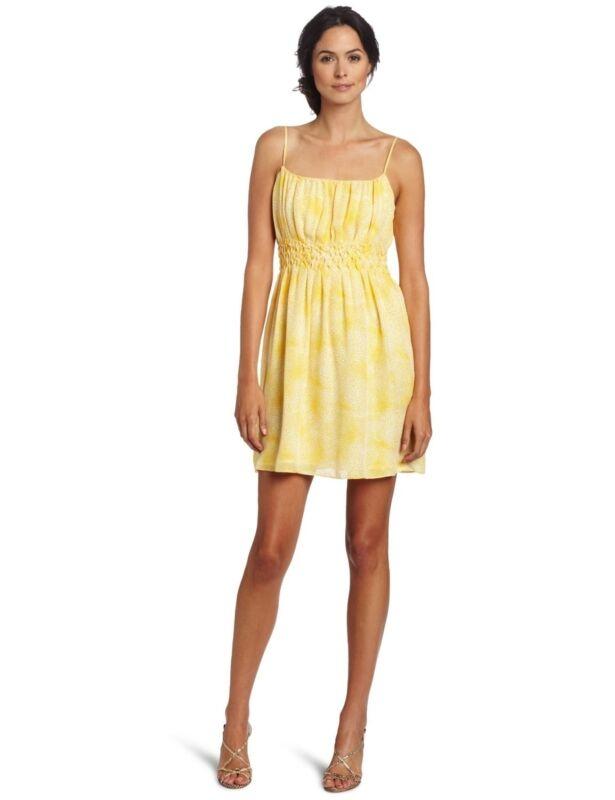 $325 CYNTHIA STEFFE 'Sabina' Rich Lemon Yellow Print Silk Dress sz 4 NWT
