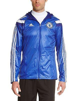 Rare Chelsea Adidas Anthem Hooded Nylon Glanz Jacket Large - Blue White ()