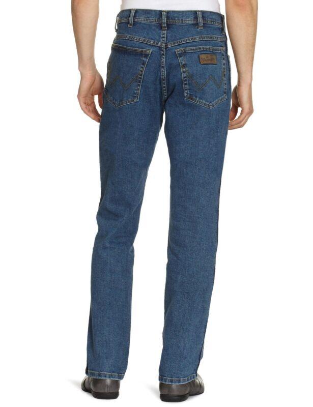 Wrangler Texas Stretch Jeans New Men's Stonewash Blue Straight Regular Fit Denim