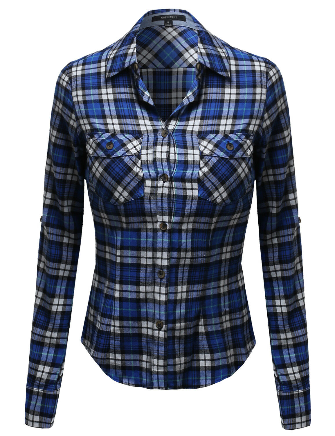 FashionOutfit Women's Flannel Plaid Checker Roll Up Sleeves