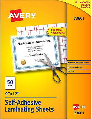 Avery Self-adhesive Laminating Sheets 9 X 12 Permanent Adhesive 50 Sheets