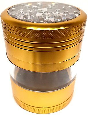 Metal Herb Grinder 4 Piece 2.5 Inch Gold Zinc Spice Tobacco Large Hand Crusher