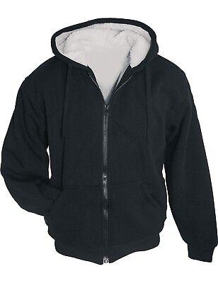 Winter Sweatjacke Sherpa Jacke mit Kapuze + Futter Hoodie Arctic Sweater Schwarz