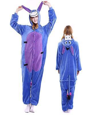 Animal Cartoon Eeyore Donkey Kigurumi Pajamas Set Halloween Costume Sleepwear