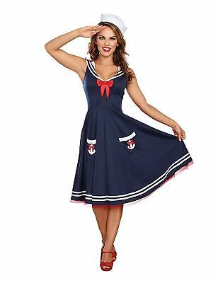 All Aboard Sailor Girl Blue Pinup Retro Fancy Dress Up Halloween Adult - All Grown Up Halloween