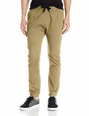 Southpole Men's Basic Stretch Twill Jogger Pants, Deep Khaki