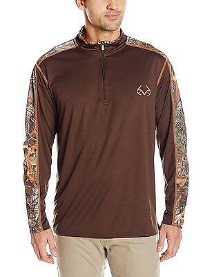 54162db98553 Mens M Realtree 1 4 Zip Brown and Camoflodge Over Shirt