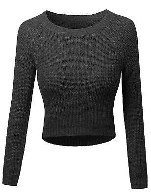 Round Neck Women Sweatshirt (FashionOutfit Women's Long Sleeves Round Neck High-Low Knit Crop Top)