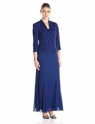 Alex Evenings Mujer Largo Vestido, Azul Eléctrico S, 6 Pequeña