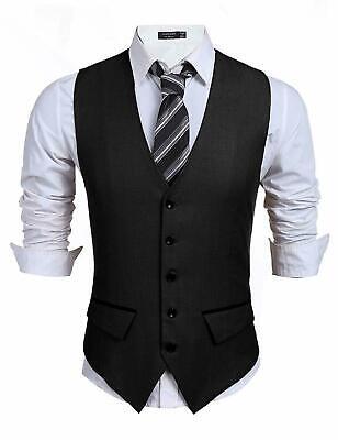 COOFANDY Men's Business Suit Vest,Slim Fit Skinny Wedding Waistcoat XL, Black