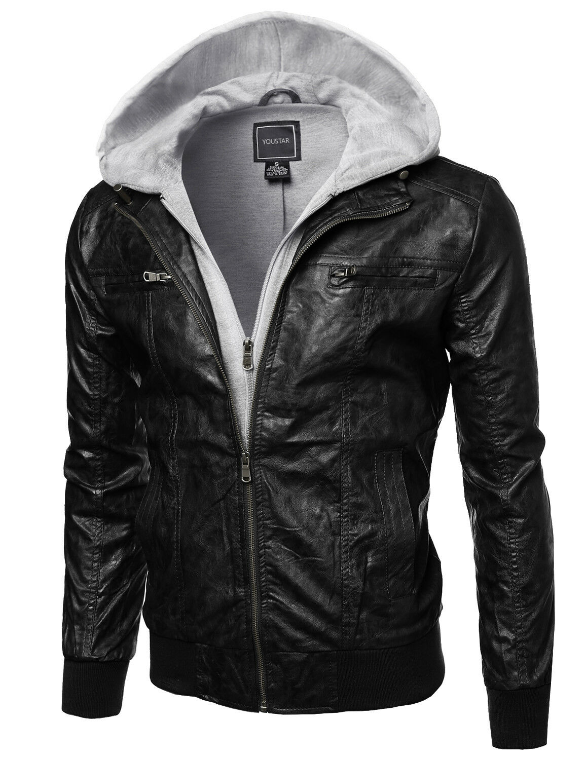 FashionOutfit Men's Refined Faux Leather Moto Jacket with At