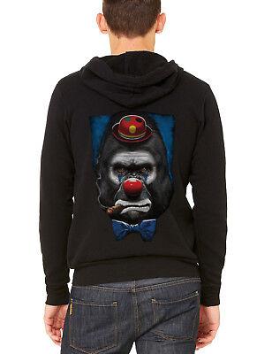 Funny Rave Halloween Costumes (Men's Gorilla Clown C9 Black Zipper Hoodie Halloween Costume Funny Rave)