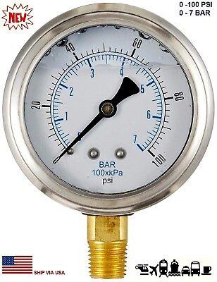 New 2-12 Hydraulic 0 - 100 Psi Liquid Filled Pressure Test Gauge Lower Mount