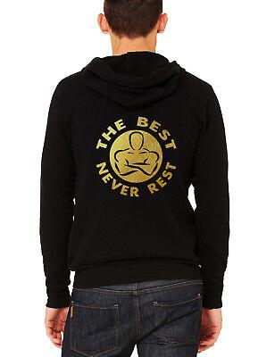 Men's Gold Foil The Best Never Rest C9 Black Zipper Hoodie Workout Fitness