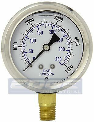Liquid Filled Pressure Gauge 0-5000 Psi 2.5 Face 14 Npt Lower Mount Wog