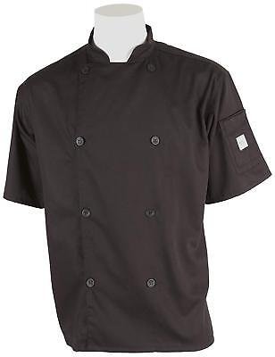 Mercer Culinary Chef Jacket Genesis Mens Short Sleeve Traditional Small Black
