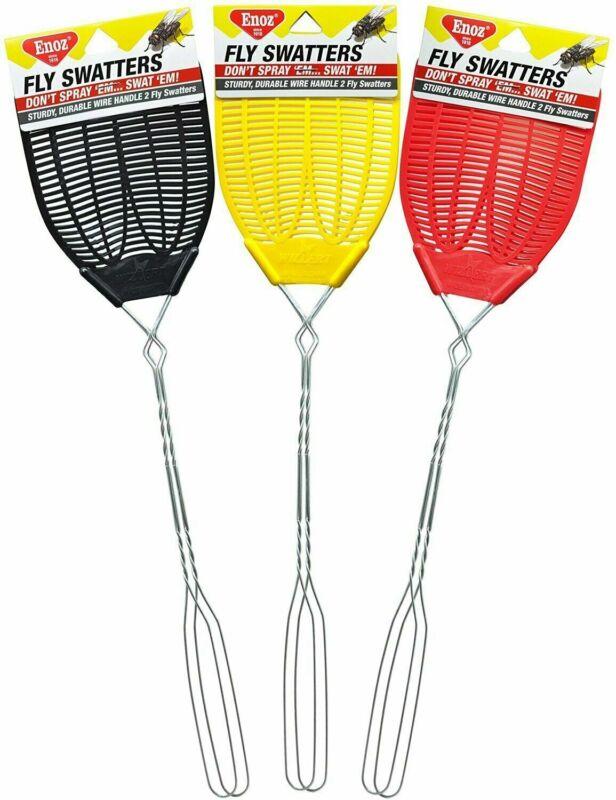 Enoz Pack Of 12 R-37/15/12 Regular Wire Handle Plastic Head Fly Swatters