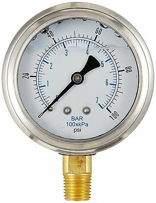 Liquid Filled Pressure Gauge Hydraulic Lower Mnt 1.5 Face 0-100 18 Npt