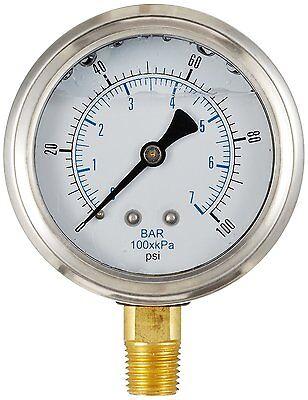 Liquid Filled Pressure Gauge Hydraulic Lower Mnt 1.5 Face 0-100 18 Npt