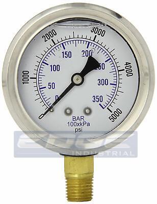 Liquid Glycerin Filled Pressure Gauge Hydraulic 2.5 Face 0-5000 Lower 14  Mi