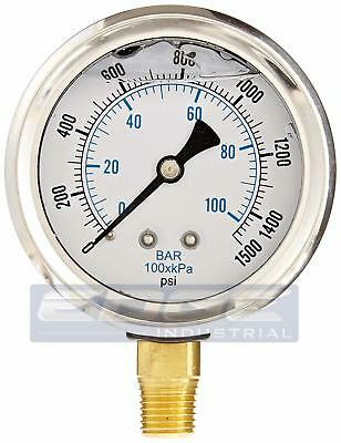 Liquid Filled Pressure Gauge 0-1500 Psi 2.5 Face 14 Npt Lower Mount