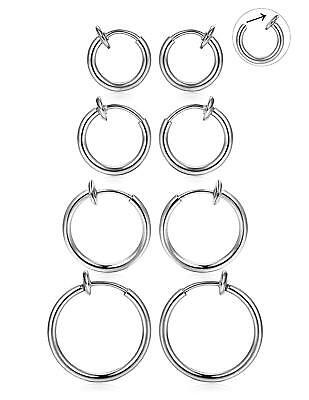 Stainless Steel Clip On Non-Piercing Fake Spring Hoop Earrings for Sensitive Ear