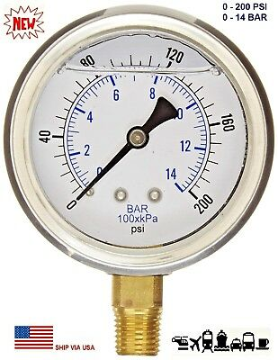New 2-12 Hydraulic 0 - 200 Psi Liquid Filled Pressure Test Gauge Lower Mount