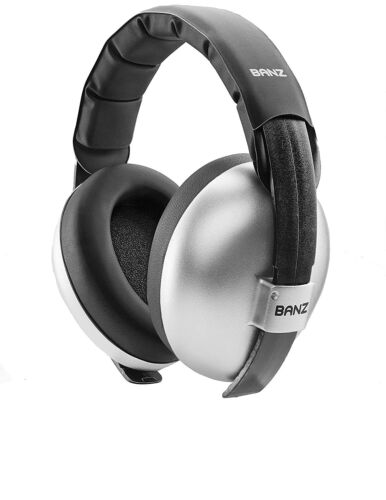 Baby Banz Infant Hearing Protection Noise Sound Blocking Earmuffs (Silver)