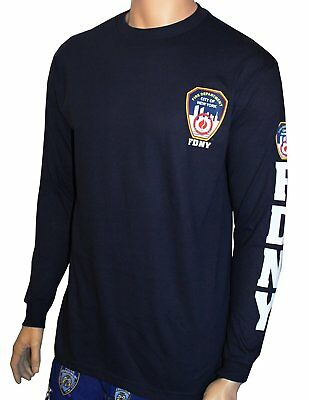 Feet Long Sleeve - FDNY Long Sleeve Officially Licensed Keep Back 200 Feet T-Shirt Navy