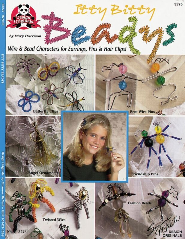 Beading Pattern Book ITTY BITTY BEADYS ~ Wire & Bead Jewelry, Characters, Pins +