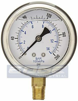 Liquid Filled Pressure Gauge 0-200 Psi 2.5 Face 14 Npt Lower Mount Wog