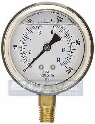 Liquid Filled Pressure Gauge 0-200 Psi 2.5 Face 14 Npt Lower Mount Wog