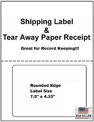 200 Shipping Labels With Tear Off Receipt - Perfect Fit For Online Shippers