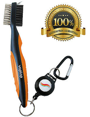 Golf Brush and Club Groove Cleaner - Easily Attaches to Golf Bag - - Club Cleaner