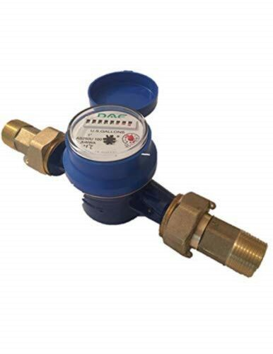 DAE AS250U-100 1 inch Water Meter, Measured in Gallon + Couplings