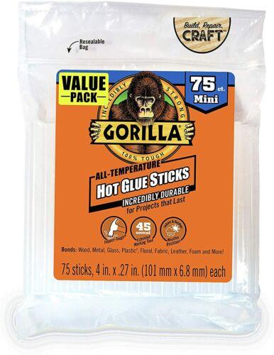"""Gorilla Hot Glue Sticks, Mini Size, 4"""" Long x .27"""" Diameter, 75 Count, Clear,"""