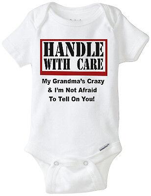 Handle With Care - My GRANDMA'S Crazy! Authentic Gerber Baby Onesie Infant (Funny Baby Onesie)