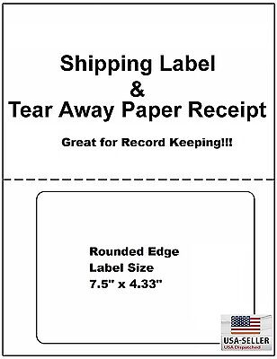 200 Self Adhesive Mailing Shipping Labels W Tear Off Paper Receipt Paypal