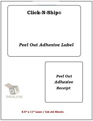 100 Laser Ink Jet Labels Click-n-ship With Peel Off Receipt -perfect For Usps